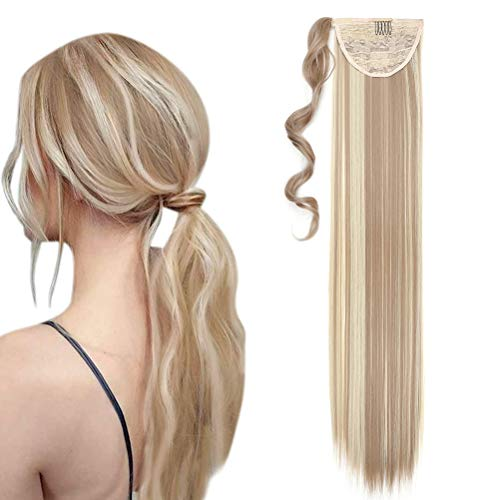 Coda di Cavallo Extension Clip Capelli Naturale Lisci Dritto Ponytail Hair Extensions Wrap on Posticci Sintetici Lunghi 80cm Sandy Blonde e Bleach Blonde