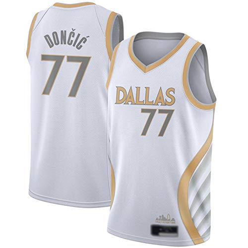 CLKI Camiseta de baloncesto de Luka Doncic #77 de la temporada 2021, transpirable para hombre, chaleco deportivo para fitness, deportes, competición, color blanco, talla S