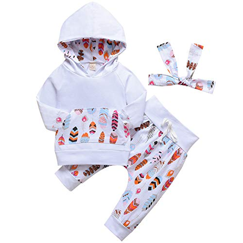 ASTRILL Toddler Baby Girl Winter Outfits Feather Print Hoodie and Pants with Headband(3-6M, White)