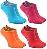 Rainbow Socks - Mujer Hombre - Coloridos Bunte Calcetines Bajos Invisibles de Algodón - 4 Pares - Azul Fucsia Naranja Rojo - Tamaños 42-43