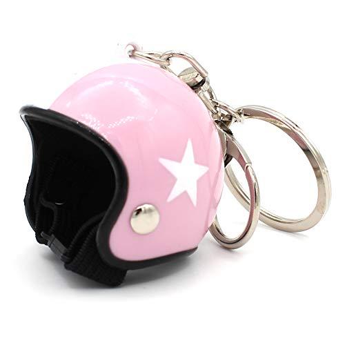 VmG-Store Llavero con diseño de casco de moto retro con cierre funcional (rosa)