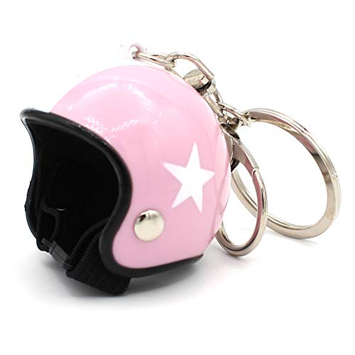 VmG-Store Motorrad Helm Retro Schlüsselanhänger mit funktionsfähigem Verschluss (Rosa)