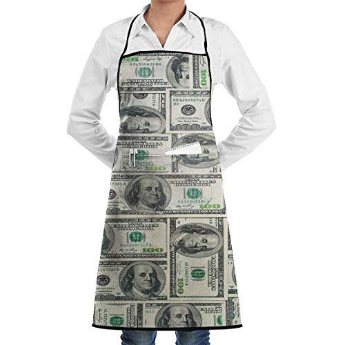 N/Een Geld Dollar Bills Van Verenigde Staten Chef Schort Met Zakken Grill Schorten Voor Vrouwen Mannen Keuken Koken BBQ