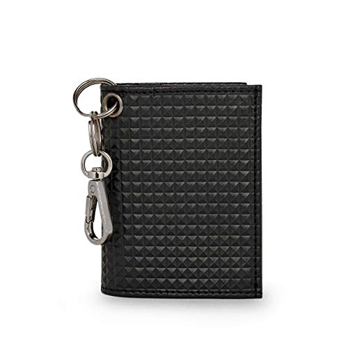 Gaffa London - Cartera de piel vegana minimalista con protección RFID con llavero desmontable para hombres y mujeres en color negro