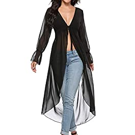 Akalnny Women's Long Cardigan Long Sleeve Sheer Lightweight Floaty Duste Cover-ups for Summer Beach Sea Party Holidays