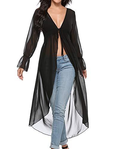 Akalnny Mujer Cárdigan Largo Elegante con Manga Larga Dobladillo Irregular Chaqueta de Gasa Drapeado para Vacaciones Fiesta Playa(Negro, S)