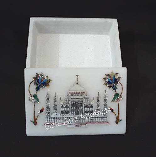 Caja de brazalete rectangular de mármol blanco con réplica Taj Mahal con incrustaciones de caja para regalo de 7 x 5 pulgadas
