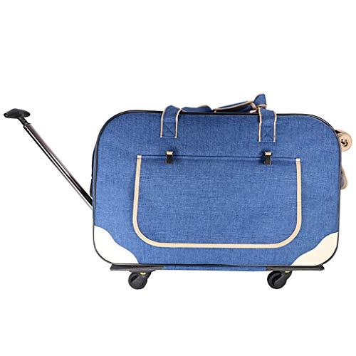 Trolley Pet case tas op wielen, huisdier reistas, Draagbare winkelwagen Cat Travel Bag Hond Case Cage 900D Oxford doek +Drie zijden Mesh raam, Verstelbare hoogte hendel
