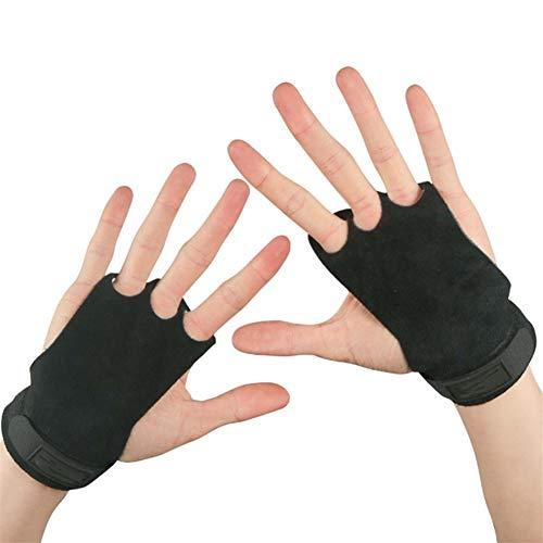 XuCesfs - Guantes de protección de palma de 3 agujeros para gimnasio, bar, dominadas, calisténica, pesas rusas y deportes de levantamiento de pesas (color: negro, talla: M)