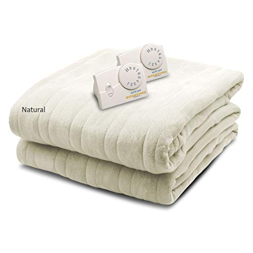 Biddeford Blankets Comfort Knit Electric Heated Blanket With Analog Controller, King, Natural