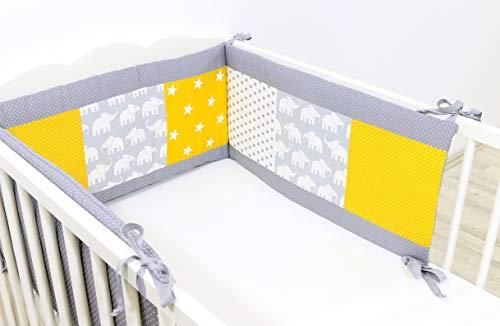 Baby Bettumrandung 70x140 cm | Made in EU | ÖkoTex 100 | Schadstoffgeprüft | Antiallergisch | Baby Nestchen für den Kopfbereich | Babynest | Umrandung Babybett | Elefant Gelb | ULLENBOOM ®