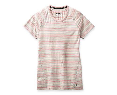 Smartwool Women's 150 Baselayer Short Sleeve Slim Fit Shirt Ash Heather Stripe, Medium