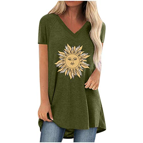 WOBANG Camiseta corta informal para mujer, con cuello en V, tallas grandes, para verano, WO-834 Verde militar....