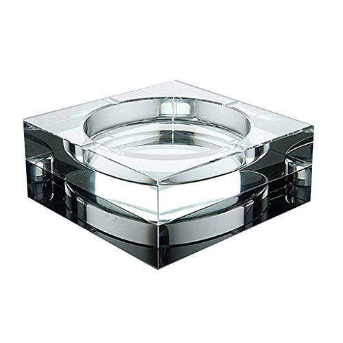 Cenicero para Exterior e Interior Cuadrada cenicero de vidrio cristalino transparente de cristal Cenicero decoración interior y exterior creativo Pequeño Cenicero 3,9 pulgadas para Hogar Oficina, Apar
