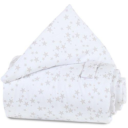 Babybay Grille protection pour lit - bébé - Étoiles gris perle blanche