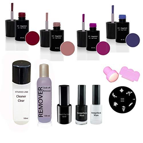 Nail Art UV Vernis à ongles set N°5, UV Vernis à ongles, dissolvant, Cleaner, Base & Top Vanish, Kit d'estampage