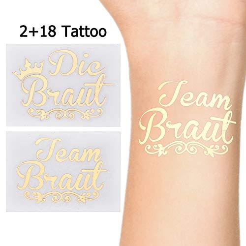 LinkBro JGA Tattoos [ 20 Pack ] Die Bride Tattoos | Team Bride Tattoos für Junggesellinnenabschied, Bachelor Party, Hochzeit & Braut
