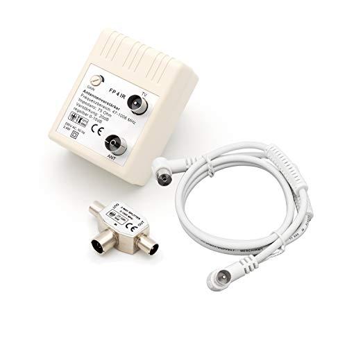 maxx.onLine Antennenverstärker 20 dB Verstärkung, 0-10 dB regelbar, 47-1006 MHz Kabelfernsehen DVB-C, DVB-T inkl. 2fach Verteiler, 1 m IEC Winkel HDTV-Antennenkabel mit Ferritkern Mantelstromfilter