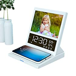 Digital Alarm Clock FM Radio,15W Wireless Charger Station for iPhone Samsung,Photo Frame,LED Display Thermometer Humidity Calendar,5 Level Dimmer,Large Digital Clock with Night Light for Bedroom