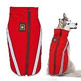 Didog Warm Dog Winter Jacket,Waterproof Fleece Coat, Reflective Cold Weather Sport Vest Jacket,Fit Medium Large Dogs, Red, 2XL