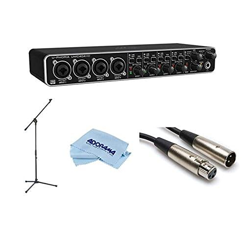 Behringer U-PHORIA UMC404HD Audiophile 4x4, 24-Bit/192 kHz USB Audio/MIDI Interface - Bundle With M XLR3F to XLR3M Cable 20', Lightweight Boom Mic Stand, Microfiber Cloth