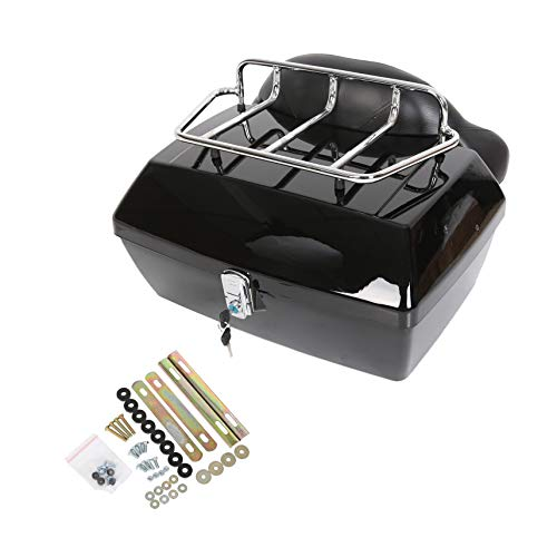 Black Motorcycle Trunk Tour Pack Tail Box Luggage for Harley Honda Yamaha Suzuki Cruiser Motorcycle Luggage Tour Trunk Tail Box with Top Rack Backrest