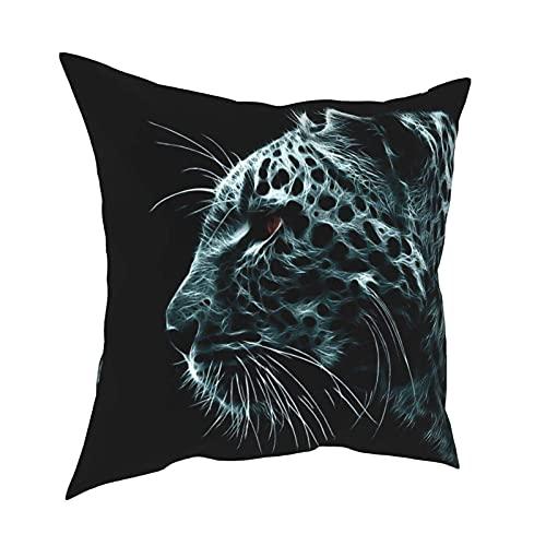 Fundas de almohada decorativas con cabeza de leopardo 3D, 45,7 x 45,7 cm, fundas de cojín cuadradas para decoración del hogar del sofá del coche