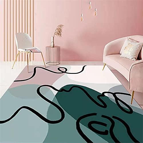 Alfombras Online Baratas Alfombra Dormitorio Diseño gráfico Minimalista Moderno Blanco Blanco Rosado Azul Alfombra De Habitacion 80X160cm