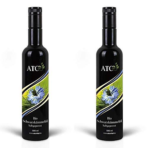 ATC Vital BIO Schwarzkümmelöl - kaltgepresstes Öl aus echter Nigella Sativa Saat – milder Geschmack - naturrein - ohne Zusatzstoffe – nur echt im Violettglas (1000ml (2x 500ml))