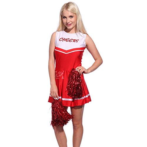 Anladia Sexy Mädchen Damen Cheerleader kostüm Uniform mit Pompins GoGo M