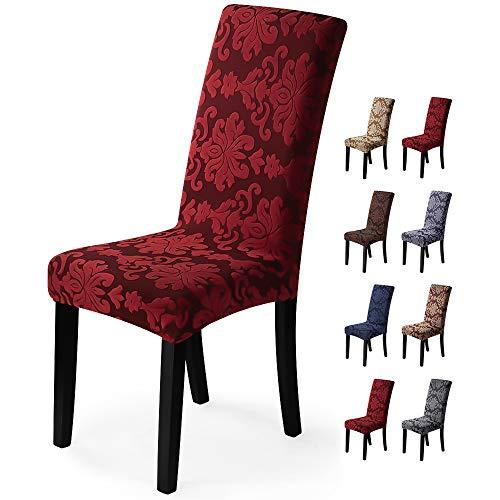 Fundas para sillas 6 Piezas Funda de Silla Comedor Stretch Cubiertas para sillas Extraíble Lavable Cubierta de Asiento Fundas sillas Duradera Modern Boda Decor Restaurante(6 Piezas,Jacquard-Rojo)