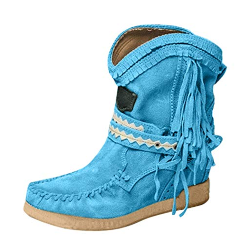 Women's Flat Low Heel Ankle Fringe Boots with Tassel Fashion Warm Fringe Booties Casual Round Toe Rome Retro Fringe Short Ankle Boots Flat Shoes Tassle Boots with Round Toe (Blue, 40)