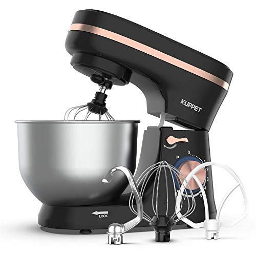 KUPPET Stand Mixer, 8-Speed Tilt-Head Electric Food Stand Mixer with Dough Hook, Wire Whip & Beater, Pouring Shield, 4.7QT Stainless Steel Bowl - Black (with Rose Gold Strip)