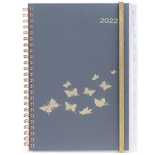 YHH 2022 Diary A5 Week to View, Weekly Planner with Monthly Tabs, Storage Pocket, Twin-Wirebound Elastic Personal Organiser Life Book for Women, Plus Monthly Overview Contact Note Budget, Butterflies
