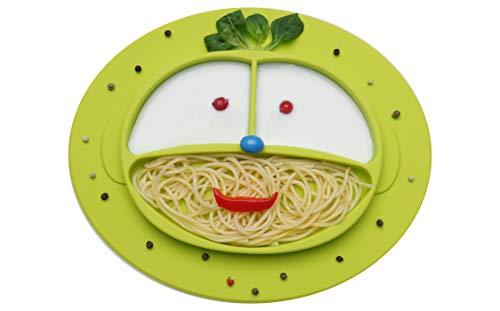 BOBBOLA® Baby Teller rutschfest Silikon Tischset mit Saugnapf für Baby Kinder und Kleinkinder, Kinderteller BPA-frei passend für Hochstuhl, baby led weaning (Smile, grün)