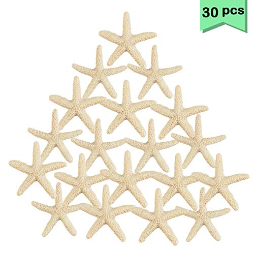 Neworkg 30 Pieces 2.3 Inches Ivory Resin Starfish Ornaments, Pencil Finger Starfish for Crafts and Wedding Home Decor