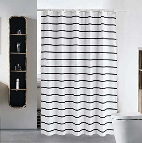 Thin Black Striped Shower Curtain