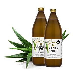 nu3 Zumo de Aloe Vera Orgánico - 2 x 1L en botella de cristal - Gel de aloe vera puro - Jugo de aloe vera 100% ecológico - Ideal para bebidas refrescantes - Detox, vegan, natural y sin diluir