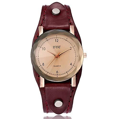 Uhren Damenuhren Watches Armbanduhren WatchUnisex Leder Einfache Armbanduhren Damen Herren Mode Quarz Armbanduhren Clock-Red