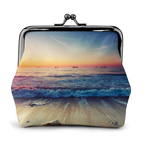 Sunset View On The Beach Shore Coin Purse Wallet Bule -Lo Small Leather Change Pouch Gift for Women