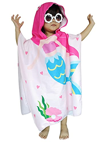 Athaelay - Toalla con Capucha de Sirena Rosa para 16 años, niños pequeños / niñas, Playa, Piscina, baño, natación, Cubierta / Poncho / Capa