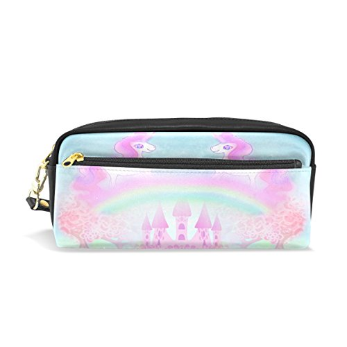 Trousse, Rose Unicorn Rainbow Imprimé Voyage Maquillage Pouch Grande capacité étanche Cuir 2 compartiments pour filles garçons femmes Hommes