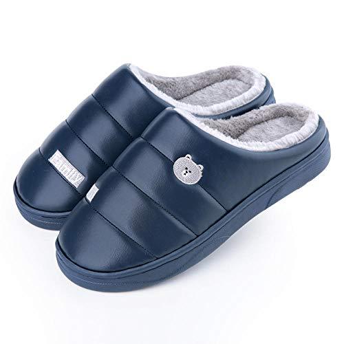 ypyrhh algodón con Memoria Zapatillas de Estar,Pantuflas de Cuero Impermeables Antideslizantes,Pantuflas de algodón para Parejas en casa-Azul Marino_36-37,para el Invierno para el InteriorZapatillas