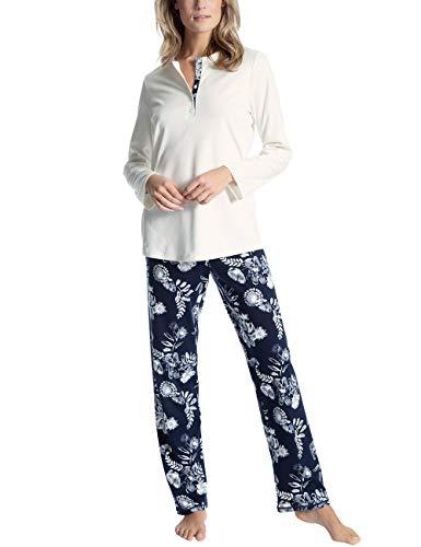 CALIDA Damen Soft Flowers Zweiteiliger Schlafanzug, Weiß (Star White 910), 36 (Herstellergröße:XS)