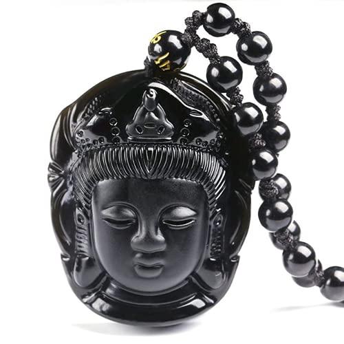 XIGAWAY Colgante de obsidiana natural con colgante de cabeza de Buda Amitabha