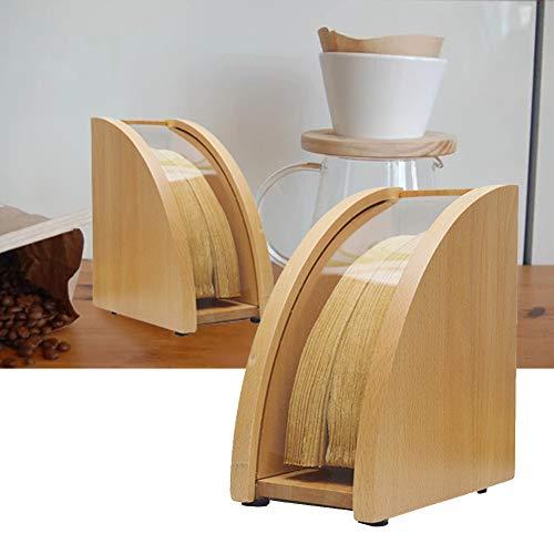 Kaffeefilterhalter, Filterpapierhalter aus Holz mit Deckel, langlebig staubdicht praktischer Kaffeefilterpapierspenderhalter für Küchencafés