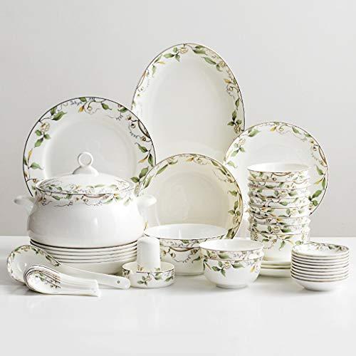 Juegos De Vajillas De Porcelana, 46 Piezas De Platos Y Cuencos De Porcelana De Alta Calidad - Juego De Cena De Porcelana Para Reuniones Familiares Y Regalos De Boda