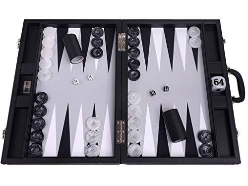Wycliffe Brothers Backgammon-Set für Turniere, 53,3 cm, Schwarz mit grauem Feld, Masters Edition
