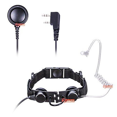 Zeadio Tactical laryngophone Ohrhörer – Heavy Duty Throat Mic Covert akustische Tube mit Finger PTT Mikrofon für 2 PIN Kenwood HYT Wouxun PUXING QUANSHENG Radios
