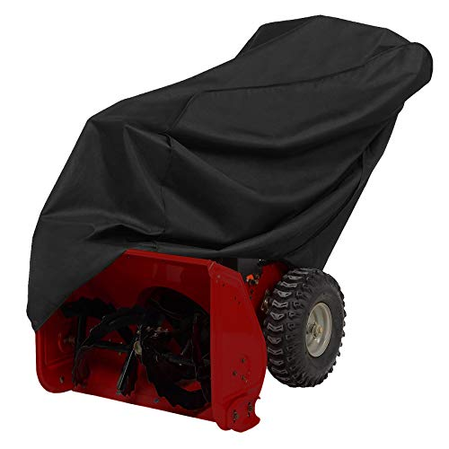AKEfit Snow Thrower Cover, Waterproof UV Protection Heavy Duty Snow Blower Cover, Durable Patio Cover for Electric Snowblowers, Design with Double Seam and Drawstring - 50x35x43In Black